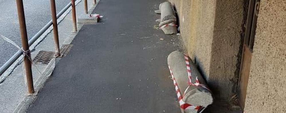 Veniano, pilastro abbattuto dall'auto   Dieci mesi non bastano per sistemarlo
