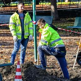 Como, nuovi lampioni in arrivo ai giardini   Area transennata, aperto il cantiere