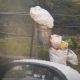 Getta i rifiuti per la strada  Incastrata dalla telecamera