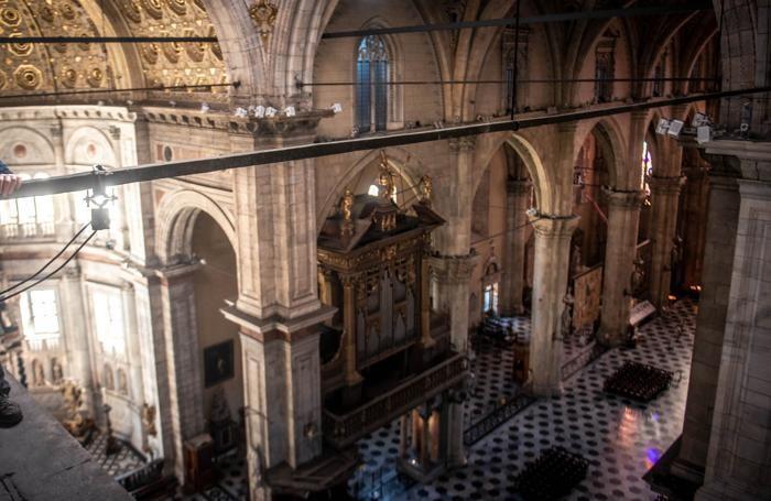 Como Duomo cantiere, sostituzione dell'impianto luci,