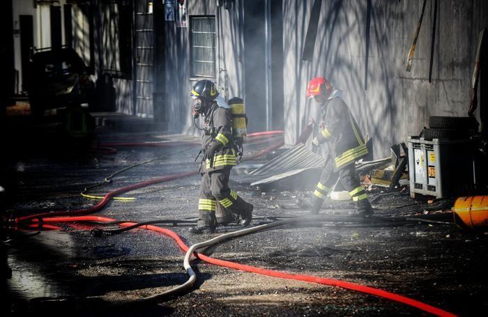 Vigili del fuoco a Luisago