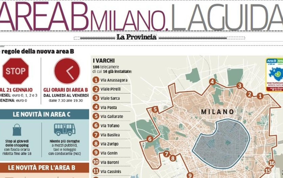 """Milano, debutta l'Area B  Domani con """"La Provincia""""  una guida di 4 pagine"""