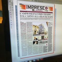 """Il lunedì c'è """"Imprese&Lavoro""""  In copertina Campione e il progetto  del polo dell'innovazione"""