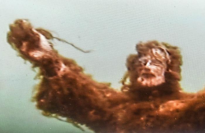 Il Cristo degli abissi ricoperto di alghe