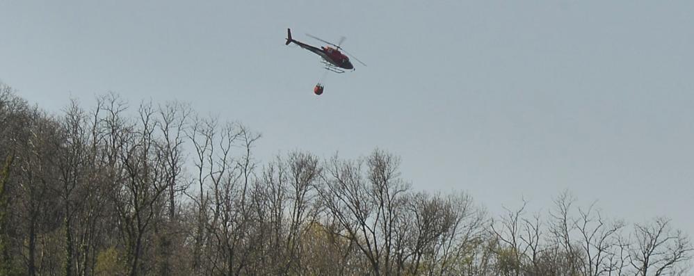 Como, incendio sul monte Goi  Interviene l'elicottero