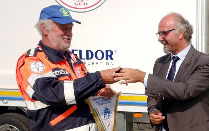 Il cuore della Eldor: furgone   donato alla Protezione civile