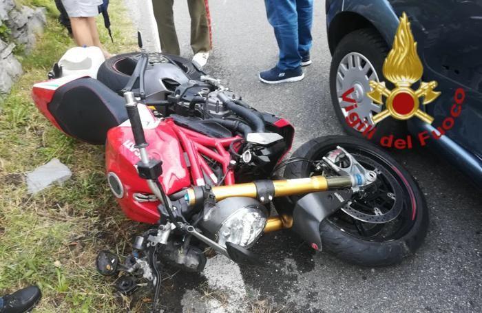La Ducati guidata dall'uomo ferito nell'incidente