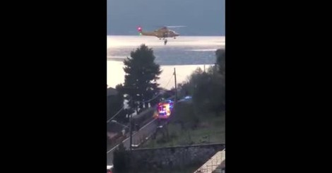 Incidente a Sala Comacina, l'arrivo dell'elisoccorso