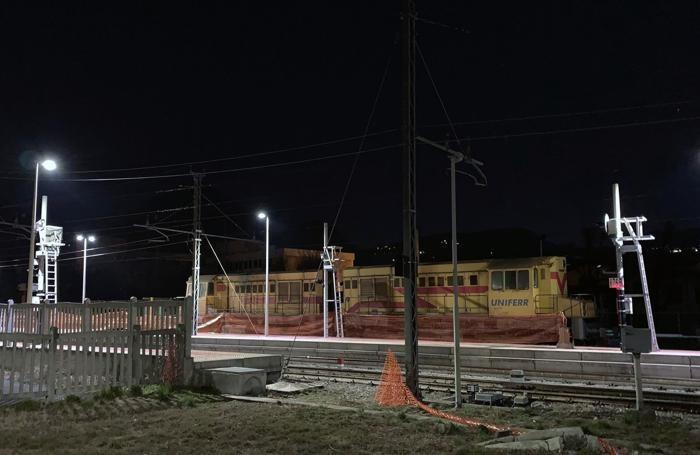 L'area del cantiere  in un'immagine notturna
