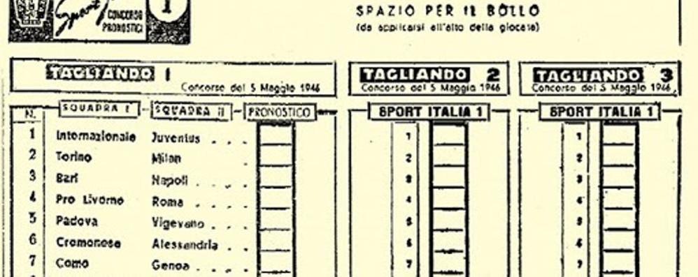 La prima Sisal 74 anni fa C'era anche Como-Genoa