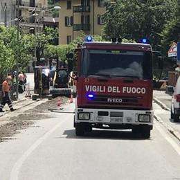 Una fuga di gas nel cantiere Chiusa la Valassina a Canzo