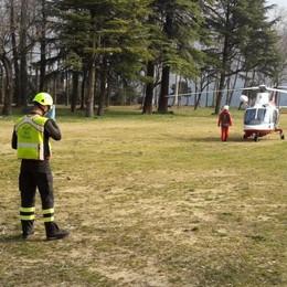 Ciclista caduto sui monti  Soccorso a Cernobbio