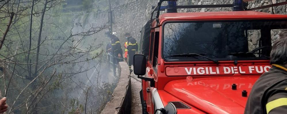 Nesso, fiamme nella valle di Nosee  Arrivano volontari e pompieri