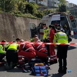 Ciclista cade a Garzola Grave, soccorso con l'elicottero