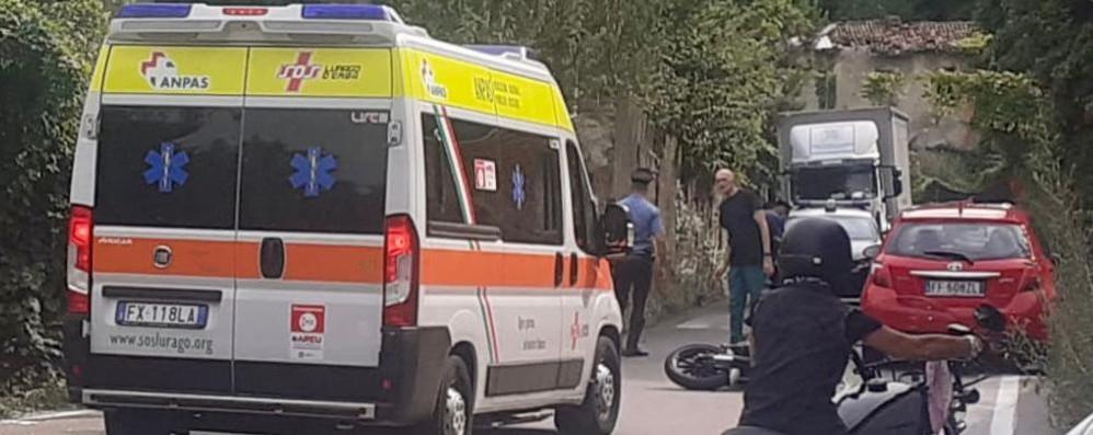 Frontale con auto Motociclista ferito a Fabbrica Durini