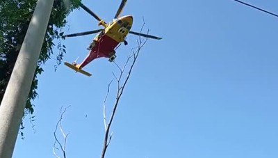 Garzola, soccorso con l'elicottero