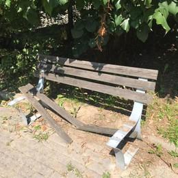 Olgiate, raid dei vandali  Rotte cinque panchine