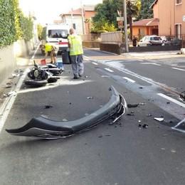 Scontro tra auto e moto  Un ferito a Lomazzo