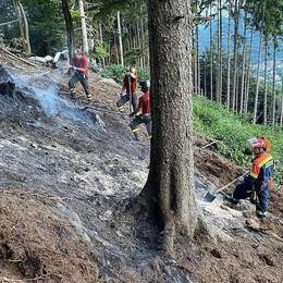 Sormano, fiamme alla pineta Mussolini  Quattro interventi dei pompieri