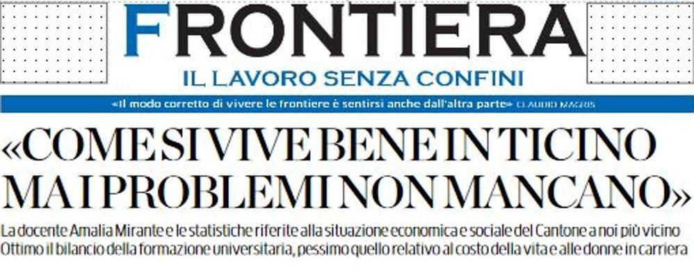 """Qualità della vita  tra Como e Canton Ticino  Il confronto su """"Frontiere"""""""